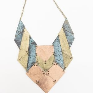 Geometric Mixed Metal Shield Statement Necklace